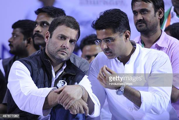Congress Vice President Rahul Gandhi talking with former Minister and Rajasthan Congress President Sachin Pilot during a convention of the Indian...