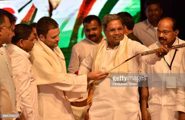 Congress Vice President Rahul Gandhi with Karnataka Chief Minister Siddaramaiah during Congress delegate meeting at Jnana Jyoti Auditorium on June 12...