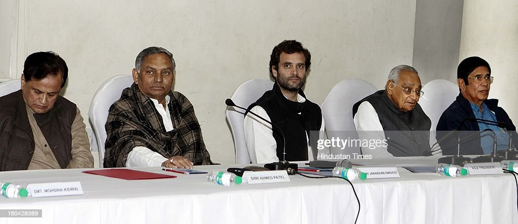 Congress Vice president Rahul Gandhi with other senior leaders Ahmad Patel, Jnardan Diwedi, Moti Lal Vora and Oscar Fernandez during a meeting with AICC office bearers at 24 Akbar Road office on January 31, 2013 in New Delhi, India.