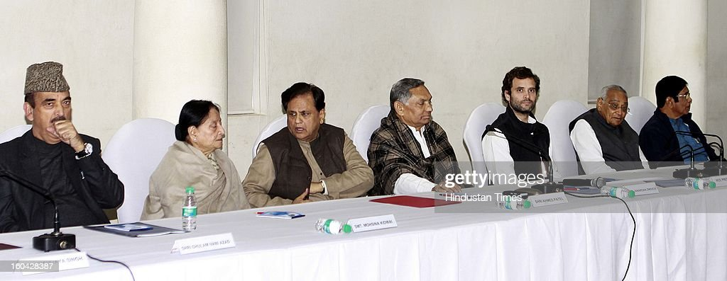 Congress Vice president Rahul Gandhi with other senior leaders Gulam Nabi Azad, Mohsina Kidwai, Ahmad Patel, Jnardan Diwedi, Moti Lal Vora and Oscar Fernandez during a meeting with AICC office bearers at 24 Akbar Road office on January 31, 2013 in New Delhi, India.
