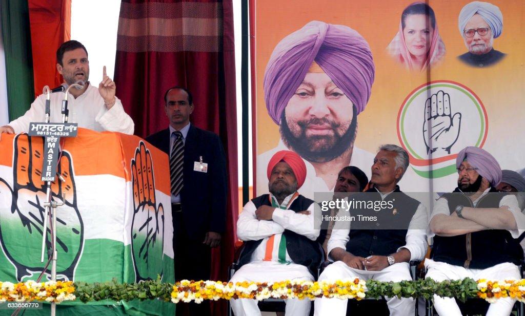 Congress VicePresident Rahul Gandhi addressing gathering during an election rally at Lambi Muktsar on February 2 2017 in Bathinda India Rahul Gandhi..