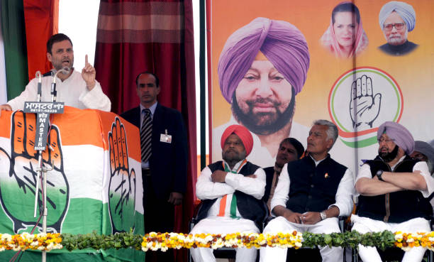 Congress VicePresident Rahul Gandhi addressing gathering during an election rally at Lambi Muktsar on February 2 2017 in Bathinda India Rahul Gandhi..