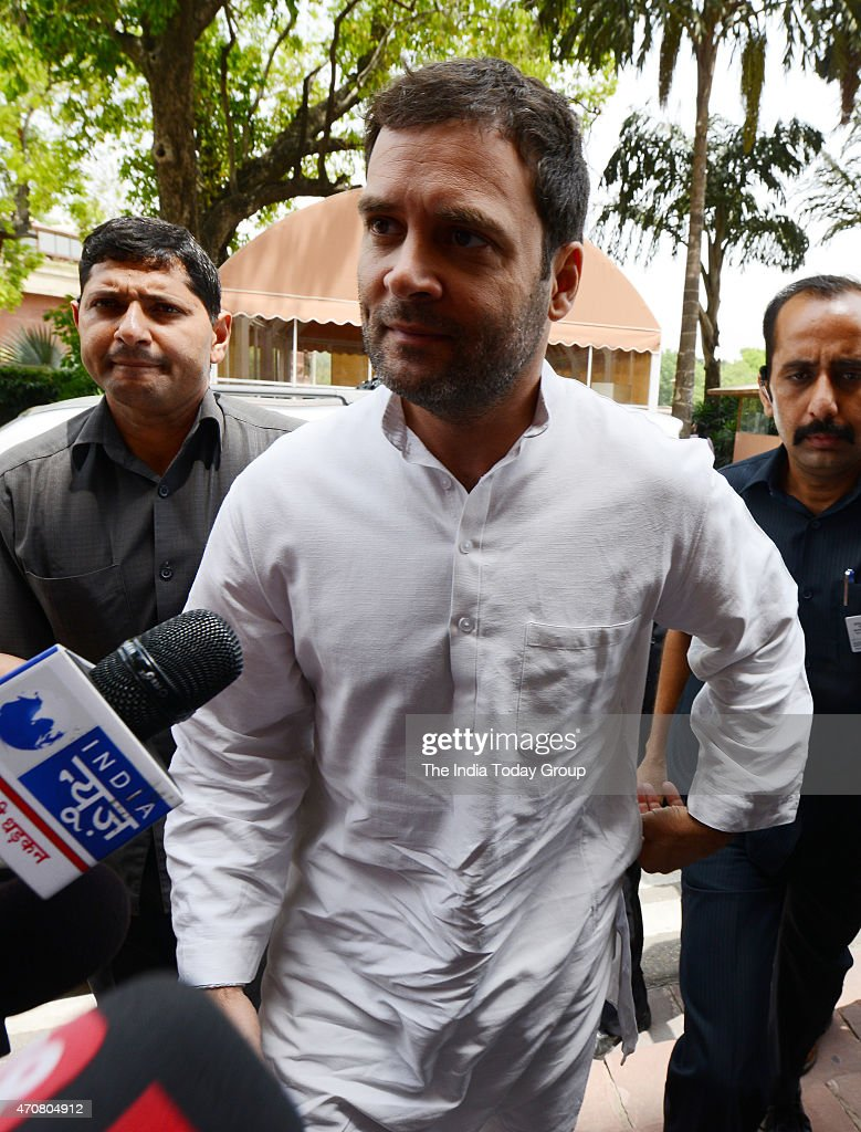 Congress Vice-president Rahul Gandhi arrives at Parliament during the Budget session, in New Delhi.