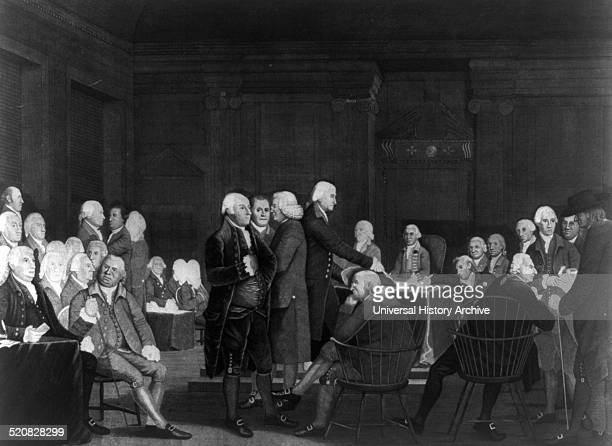 Congress voting the Declaration of Independence' Print shows men gathered in the Assembly Room in the Pennsylvania State House Philadelphia Completed...