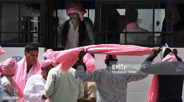Congress workers and farmers proceeding to attend the farmers rally of Congress President Sonia Gandhi to galvanise protests against National...
