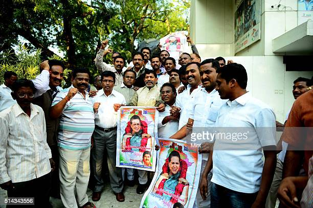 Congress workers from Telangana region celebrating after Telangana Bill passed in Lok Sabha on February 18 2014 in New Delhi India