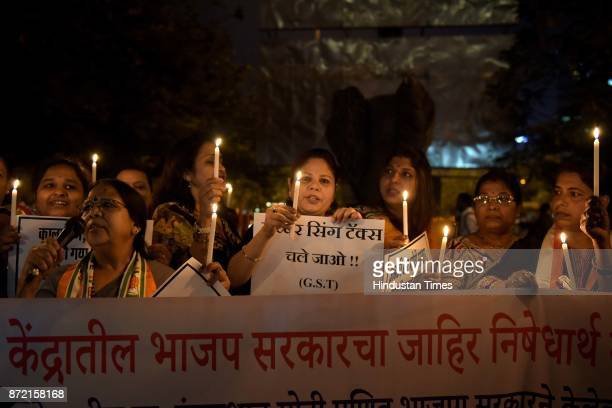 Congress workers protest against Demonitization at Vashi Railway Station on November 8 2017 in Mumbai India After completion of one year of...