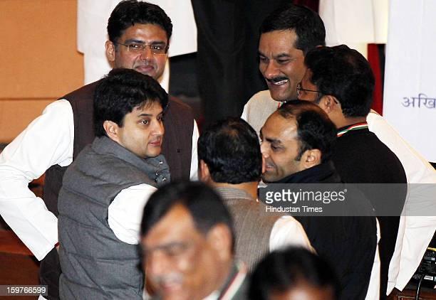 Congress young leaders Jyotiraditya Scindia Sachin Pilot and Jitendra Pratap Singh during the AICC meeting after the two days 'Chintan Shivir' at...