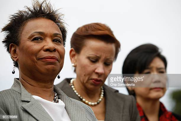 Congressional Black Caucus chair Rep Barbara Lee Congressional Hispanic Caucus chair Rep Nydia Velazquez and Rep Judy Chu participate in a news...