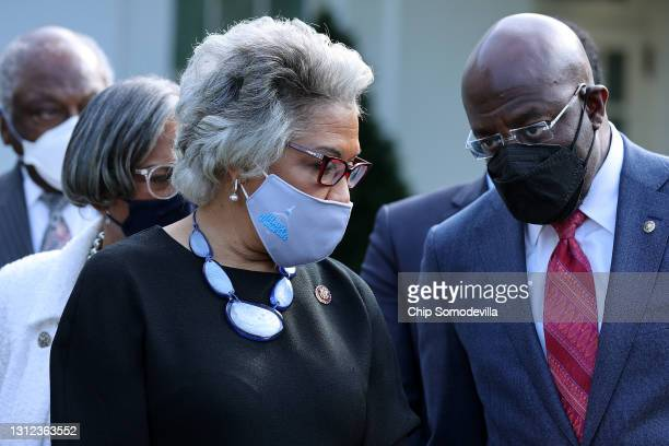 Congressional Black Caucus Chair Rep. Joyce Beatty and Sen. Raphael Warnock and fellow caucus members talk to reporters following a meeting with U.S....