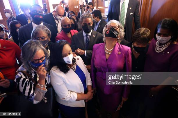 Congressional Black Caucus Chair Rep. Joyce Beatty looks to the sky as she and members of the caucus gather in the Rayburn Room to watch the verdict...