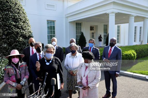 Congressional Black Caucus Chair Rep. Joyce Beatty talks to reporters with fellow caucus members following a meeting with U.S. President Joe Biden...