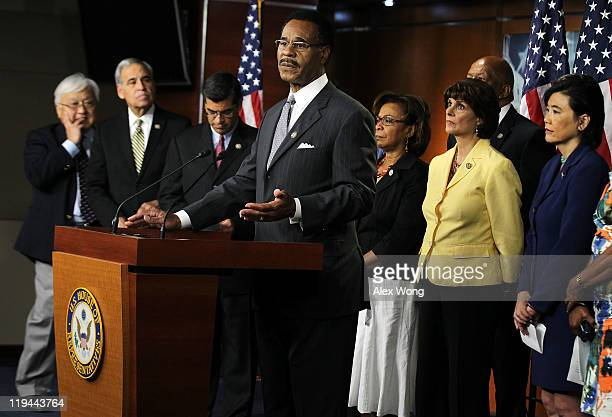 Congressional Black Caucus Chair US Rep Emanuel Cleaver speaks as US Rep Michael Honda US Rep Charles Gonzalez US Rep Xavier Becerra US Rep Barbara...