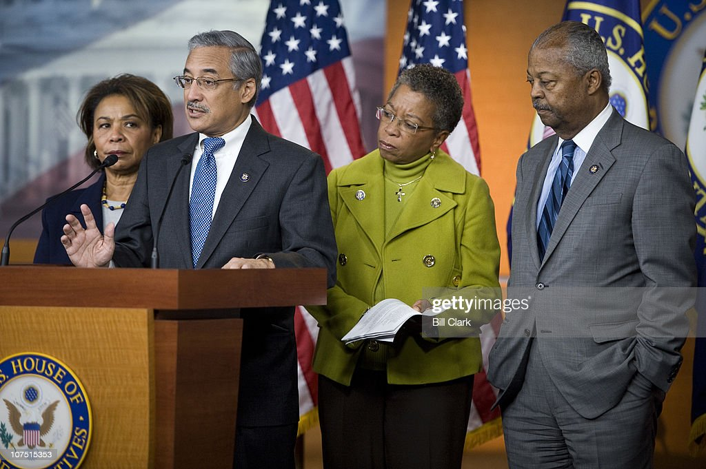 Congressional Black Caucus members from left, Rep. Barbara Lee, D-Calif., Rep. Bobby Scott, D-Va., Del. Donna Christensen, D-USVI, and Rep. Donald Payne, D-N.J., hold a news conference in the House Radio-TV Gallery studio on President Obama's tax cut proposals on Dec. 10, 2010.