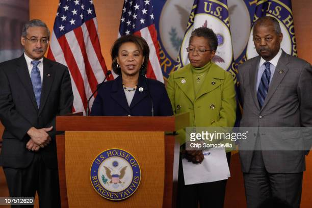 S Congressional Black Caucus members US Rep Bobby Scott Chair US Rep Barbara Lee US Del Donna Christensen and US Rep Joseph Payne hold a news...