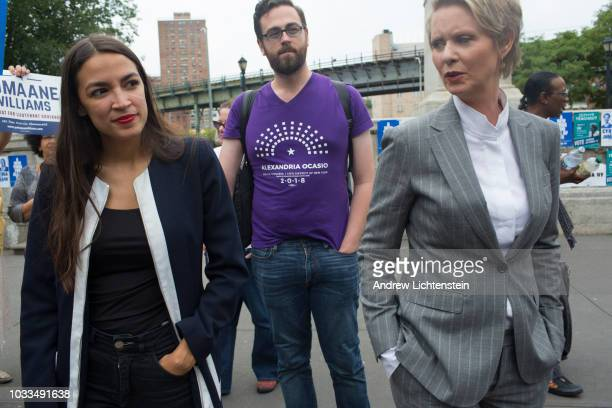 Congressional candidate Alexandria OcasioCortez lends her support to the New York progressive ticket at a get out the vote rally for Cynthia Nixon on...