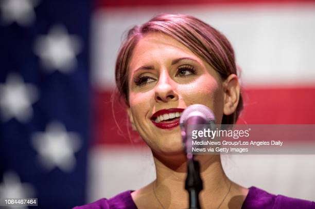 Congressional candidate Katie Hill speaks during her election night watch party at the Canyon in Santa Clarita, CA. Tuesday, Nov 6, 2018.