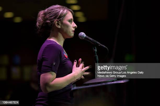 Congressional candidate Katie Hill speaks during her election night watch party at the Canyon in Santa Clarita CA Tuesday Nov 6 2018