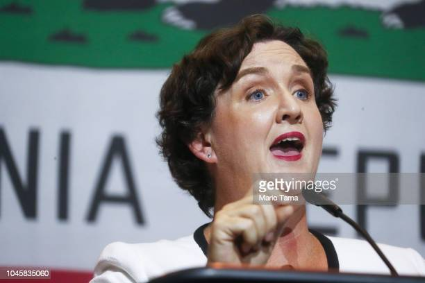 Congressional candidate Katie Porter speaks at a 2018 midterm elections rally on October 4 2018 in Fullerton California The event at California State...