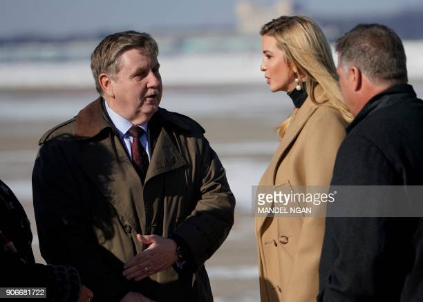 Congressional candidate Rick Saccone greets Ivanka Trump upon arrival at Pittsburgh International Airport in Pittsburgh Pennsylvania on January 18...