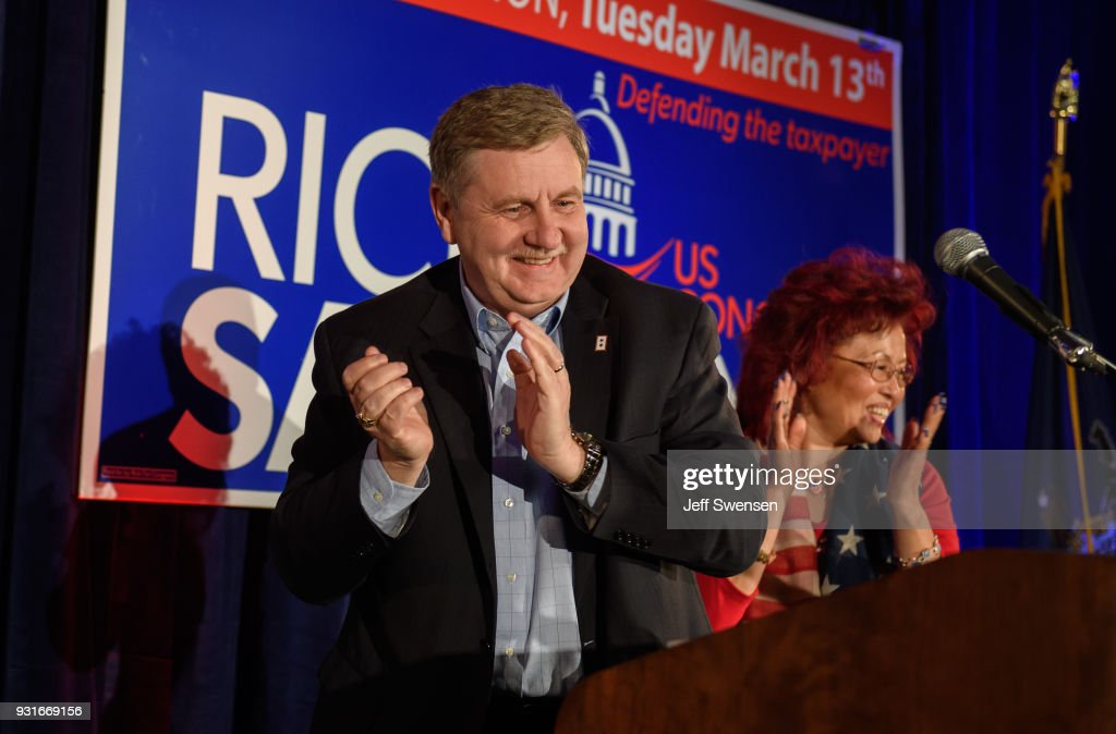 Congressional Candidate Rick Saccone speaks to supporters after his race was too close to call on March 13, 2018 at the Youghiogheny Country Club in Elizabeth Township, Pennsylvania. Saccone and Democratic candidate Conor Lamb faced off in a special election in the 18th Congressional District to fill the seat vacated by former Representative Tim Murphy who resigned after disclosure of an extra-marital affair.