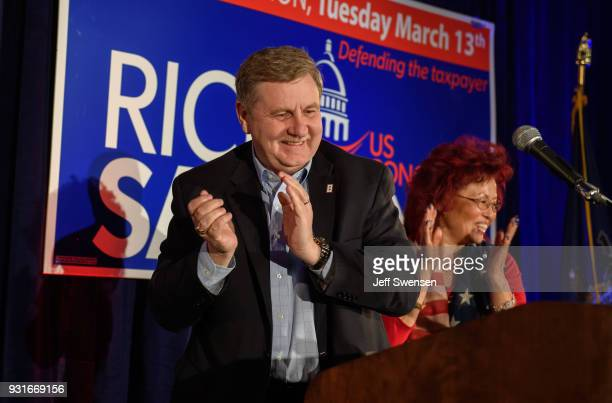 Congressional Candidate Rick Saccone speaks to supporters after his race was too close to call on March 13 2018 at the Youghiogheny Country Club in...