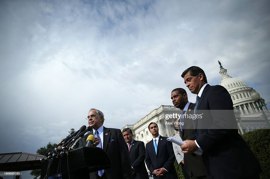 U.S. Congressional Caucus Chair Rep. Rubén Hinojosa (D-TX) speaks as Rep. Juan Vargas (D-CA), Rep. Joaquin Castro (D-TX), Rep. Steven Horsford (D-NV), and Rep. Xavier Becerra (D-CA) listen during a news conference October 23, 2013 on Capitol Hill in Washington, DC. The caucus was joined by House Democratic leaders to discuss immigration reform.