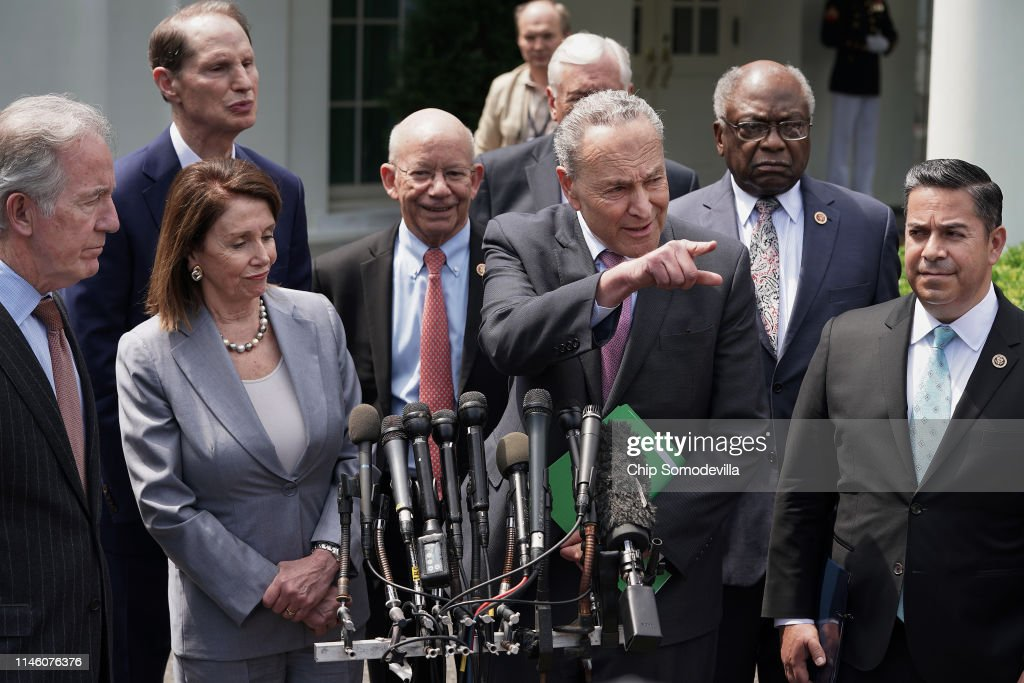 President Donald Trump Meets With Speaker Pelosi And Senate Leader Schumer To Discuss Infrastructure : News Photo