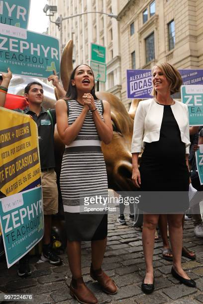 Congressional nominee Alexandria OcasioCortez stands with Zephyr Teachout after endorsing her for New York City Public Advocate on July 12 2018 in...