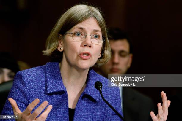 Congressional Oversight Panel Chairman Elizabeth Warren testifies about TARP oversight before the Senate Finance Committee on Capitol Hill March 31...
