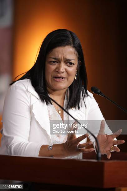 Congressional Progressive Caucus co-chair Rep. Pramila Jayapal holds a news conference in the U.S. Capitol Visitors Center May 17, 2019 in...