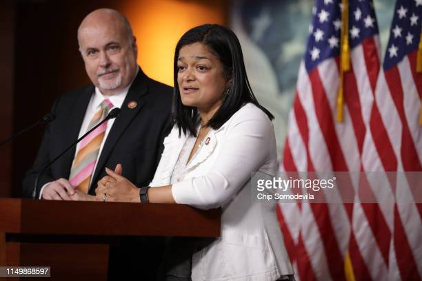 Congressional Progressive Caucus co-chairs Rep. Mark Pocan and Rep. Pramila Jayapal hold a news conference in the U.S. Capitol Visitors Center May...