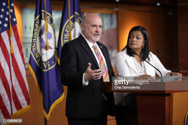 Congressional Progressive Caucus cochairs Rep Mark Pocan and Rep Pramila Jayapal hold a news conference in the US Capitol Visitors Center May 17 2019...