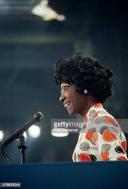 Congressional representative Shirley Chisholm the first African American woman elected to the US Congress addressing the Democratic National...