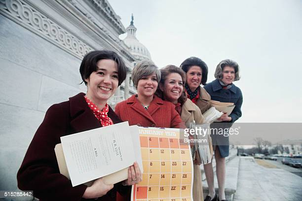 Congressional secretaries get material for the 2nd session of the 91st Congress Front to rear they are Mary Anne Faye secretary to Rep Walter J...
