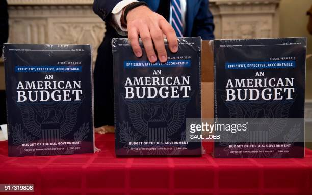 A Congressional staff member delivers copies of US President Donald Trump's Fiscal Year 2019 Government Budget at the House Budget Committee on...