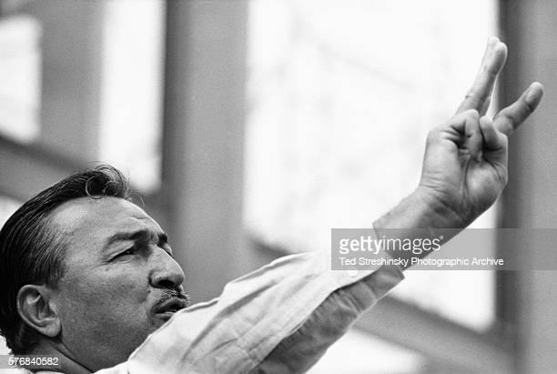 Congressman Adam Clayton Powell of Harlem gestures at a rally in Berkeley 1960s California USA