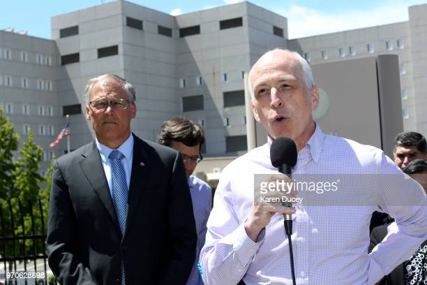 Congressman Adam Smith speaks at a press conference outside a Federal Detention Center holding migrant women as Governor Jay Inslee of Washington...