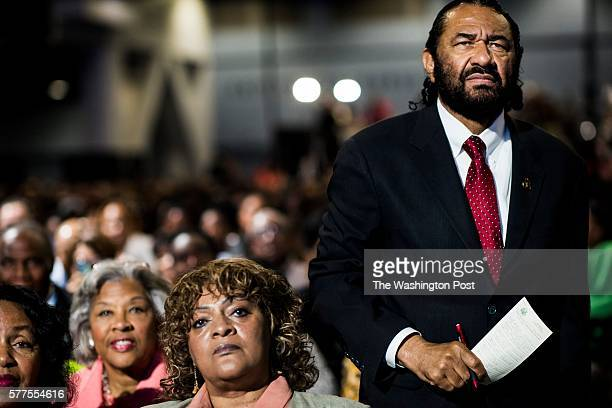CINCINNATI OH Congressman Al Green listens to Democratic Presumptive Nominee for President former Secretary of State Hillary Clinton speak at the...