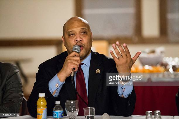 Congressman Andre Carson speaks during a Dining and Discussion event at the Diyanet Center of America Fellowship Hall in Washington USA on March 2...