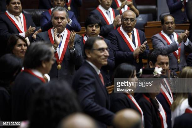 Congressman applaud during Martin Vizcarra Peru's president center swearing in ceremony in Lima Peru on Friday March 23 2018 Vizcarra assumed Peru's...