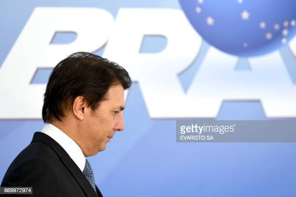 Congressman Arthur Maia arrives for a press conference at Planalto Palace after a meeting with Brazil's president Michel Temer and senators to...