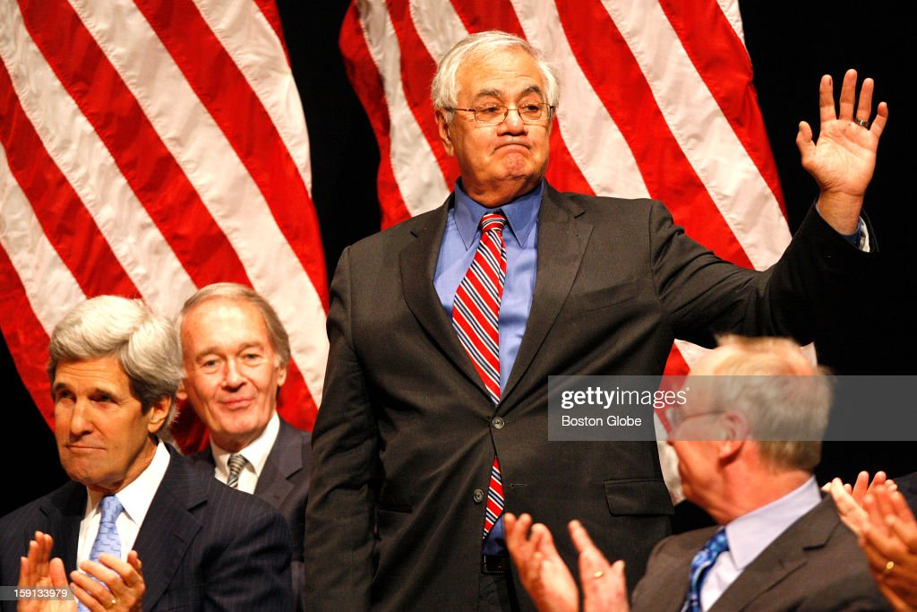Congressman Barney Frank acknowledges the applause after Warren thanked him for his service during her speech at a reenactment ceremony at Roxbury Community College. Warren, who was formally sworn in on Thursday in Washington, held the mock swearing-in as a way to thank supporters who couldn't travel to Washington for the actual ceremony.
