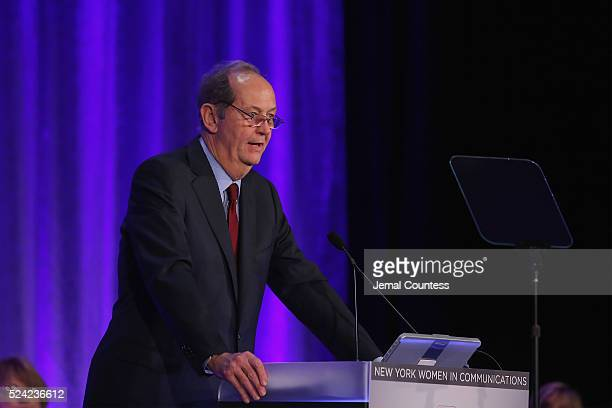 Congressman Bill Bradley speaks onstage during the 2016 Matrix Awards at The Waldorf Astoria on April 25 2016 in New York City