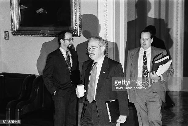 Congressman Bob Barr one of the 13 Republican congressmen who managed the House Impeachment Trial of Bill Clinton arriving at the US Senate Chambers...
