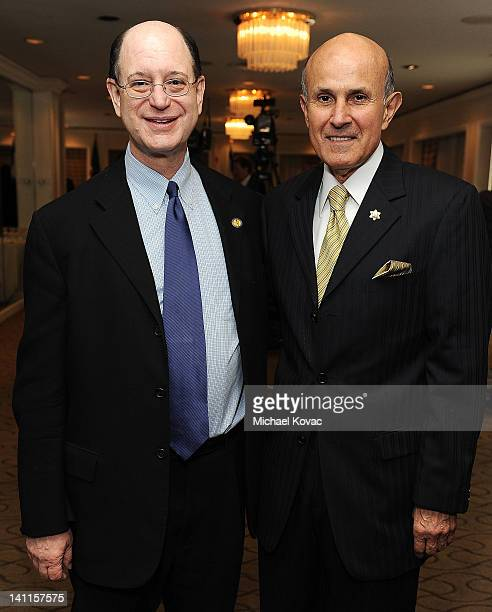 Congressman Brad Sherman and Los Angeles Sheriff Lee Baca pose for a photo before the President of Israel addressed community leaders and engaged in...