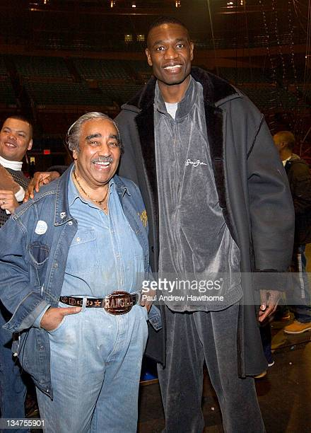 Congressman Charles Rengel and Dikembe Mutombo during Ringling Bros and Barnum Bailey The 134th Edition of The Greatest Show On Earth New York...