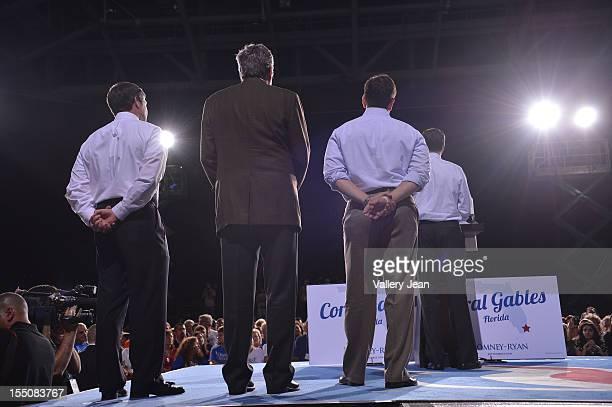 Congressman Connie Mack Governor Jeb Bush Senator Marco Rubio and Republican presidential candidate former Massachusetts Gov Mitt Romney attends Mitt...