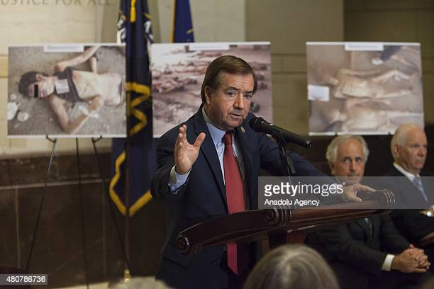 Congressman Ed Royce speaks during the unveiling of 'Caesar's Photos Inside Syria's Secret Prisons' a collection of photographs smuggled out of Syria...