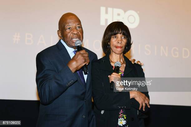 Congressman Elijah Cummings and Baltimore Mayor Catherine E Pugh speak at the premiere of HBO Documentary Baltimore Rising on November 16 2017 in...